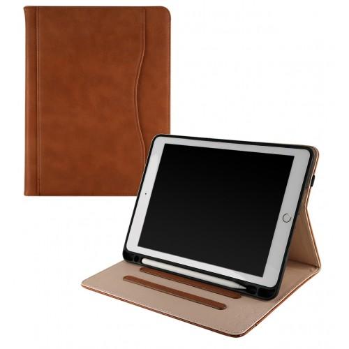 iPad 9.7 (2017 / 2018) leren 3 standen case / hoes met Apple Pencil houder bruin