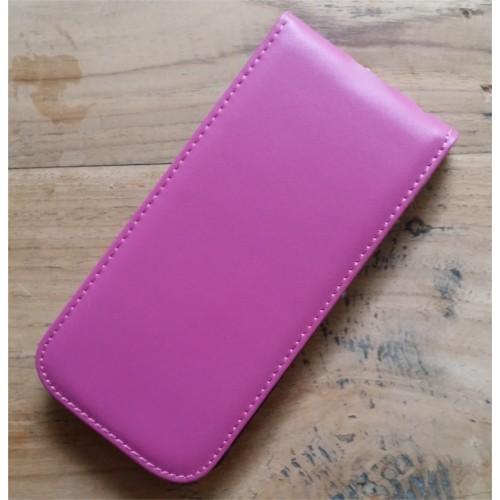 Echt leren iPhone 6 / 6S flipcase hoesje donker roze / fuchsia