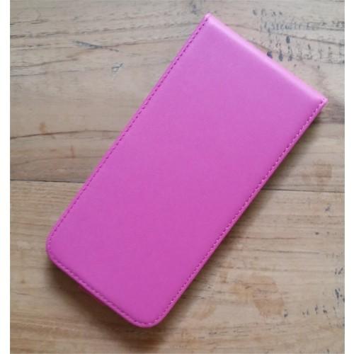 Echt leren iPhone 6 Plus / 6S Plus flipcase hoesje donker roze / fuchsia