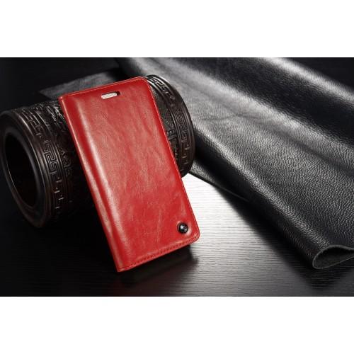 HTC One M9 rustiek leren boekhoesje rood