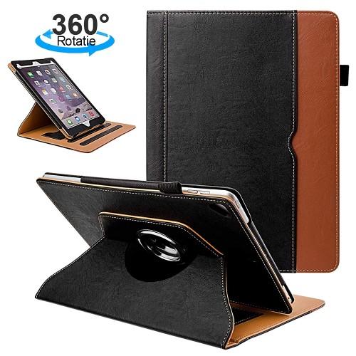 iPad 10.2 (2019) leren 360 graden draaibare hoes zwart / bruin incl. standaard met 2 standen