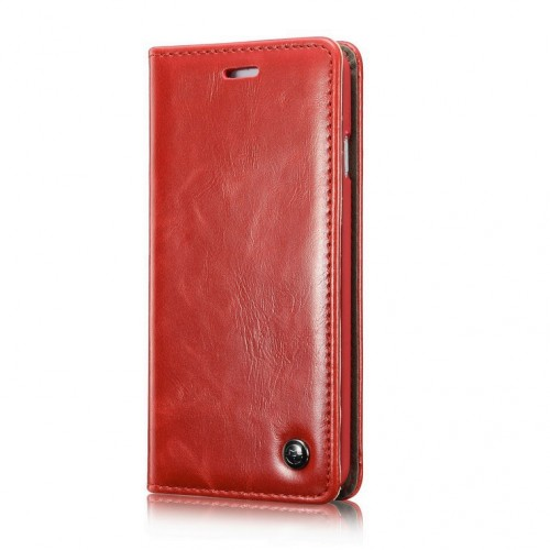 iPhone 6 / 6S rustiek leren boekhoesje rood