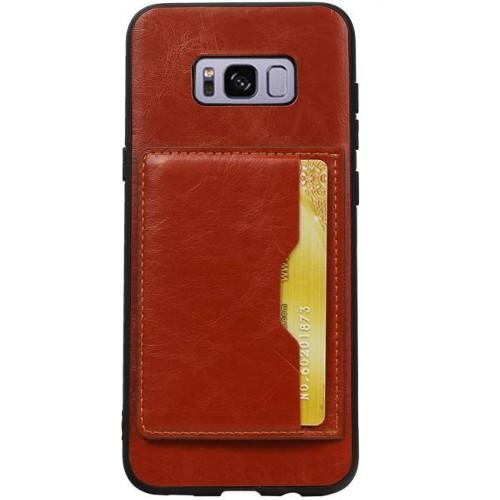 Samsung Galaxy S8+ backcover hoesje met creditcard / bankpas houder bruin