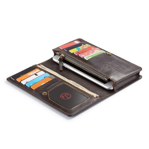 Universele telefoonhoes portemonnee met 11 kaarthouders bruin