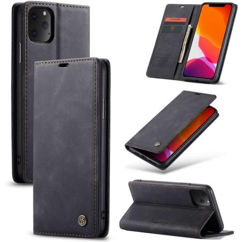 Zacht vintage hoesje / case met 2 kaarthouders en geldsleuf geschikt voor iPhone 11 Pro zwart