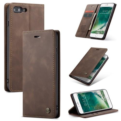 Zacht vintage hoesje / case met 2 kaarthouders en geldsleuf geschikt voor iPhone 7 Plus / 8 Plus bruin