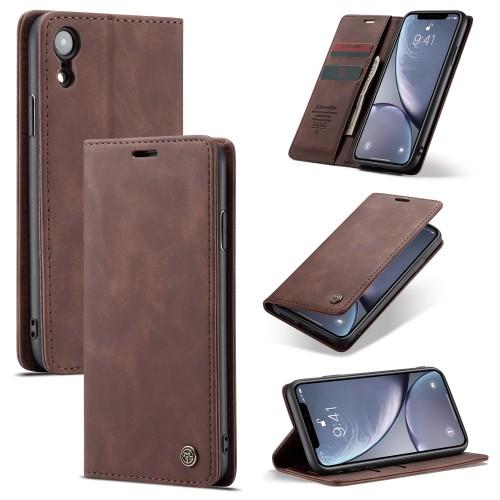 Zacht vintage hoesje / case met 2 kaarthouders en geldsleuf geschikt voor iPhone XR bruin
