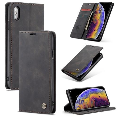 Zacht vintage hoesje / case met 2 kaarthouders en geldsleuf geschikt voor iPhone XS Max zwart