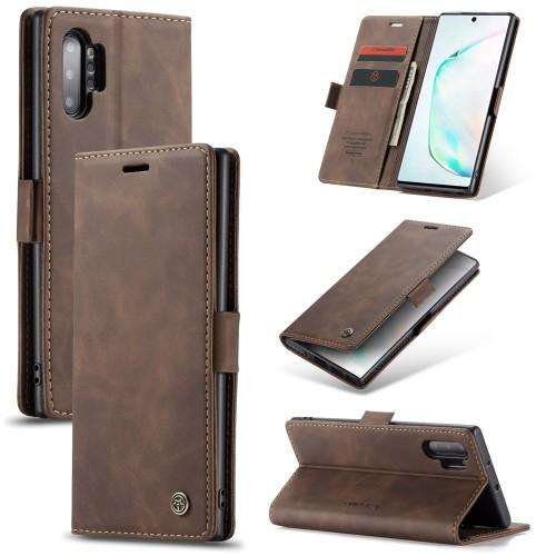 Zacht vintage hoesje / case met 2 kaarthouders en geldsleuf geschikt voor Samsung Galaxy Note 10+ bruin