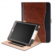 iPad Air 1 / Air 2 / 9.7 (2017 / 2018) leren case / hoes - incl. standaard met 3 standen -  Bruin Zwart