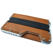 Dasaja zeer dunne Leren Aluminium RFID portemonnee zilver in cadeauverpakking