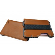 Dasaja zeer dunne Leren Aluminium RFID portemonnee zwart in cadeauverpakking