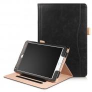 iPad Air 1 / Air 2 / 9.7 (2017) / 9.7 (2018) leren case / hoes zwart incl. standaard met 3 standen
