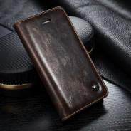 iPhone 5 / 5S / SE rustiek leren boekhoesje bruin