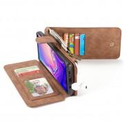 Samsung Galaxy S10+ Leren portemonnee hoesje met uitneembare telefoon case bruin