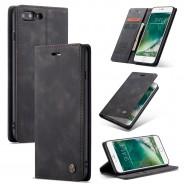 iPhone 7 Plus / 8 Plus zacht vintage hoesje / case met 2 kaarthouders en geldsleuf zwart