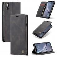 iPhone XR zacht vintage hoesje / case met 2 kaarthouders en geldsleuf zwart