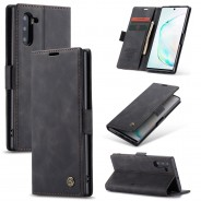 Samsung Galaxy Note 10 zacht vintage hoesje / case met 2 kaarthouders en geldsleuf zwart