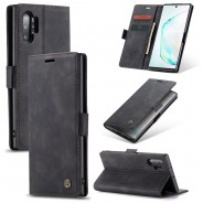 Samsung Galaxy Note 10+ zacht vintage hoesje / case met 2 kaarthouders en geldsleuf zwart