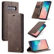 Samsung Galaxy S10 zacht vintage hoesje / case met 2 kaarthouders en geldsleuf bruin