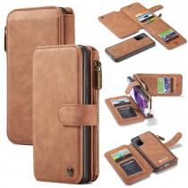 Samsung Galaxy S20 Leren portemonnee hoesje met uitneembare telefoon case bruin