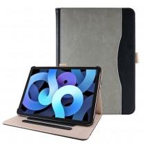 iPad Air 4 10.9 (2020) leren hoes grijs / zwart incl. standaard met 3 standen