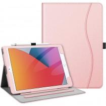 Dasaja -  iPad 10.2 inch (2019 / 2020) stevige hoes - met opbergruimte – 3 standen - met pencil houder – Licht Roze