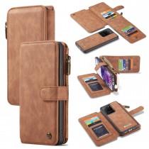 Samsung Galaxy S20 Ultra Leren portemonnee hoesje met uitneembare telefoon case bruin