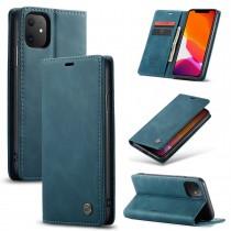 Zacht vintage hoesje / case met 2 kaarthouders en geldsleuf geschikt voor iPhone 11 blauw