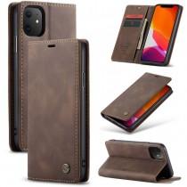 Zacht vintage hoesje / case met 2 kaarthouders en geldsleuf geschikt voor iPhone 11 bruin