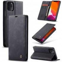Zacht vintage hoesje / case met 2 kaarthouders en geldsleuf geschikt voor iPhone 11 Pro Max zwart