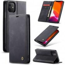 Zacht vintage hoesje / case met 2 kaarthouders en geldsleuf geschikt voor iPhone 11 zwart