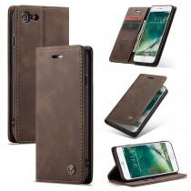 Zacht vintage hoesje / case met 2 kaarthouders en geldsleuf geschikt voor iPhone 7 / 8 bruin