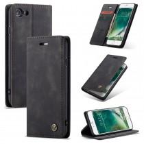 Zacht vintage hoesje / case met 2 kaarthouders en geldsleuf geschikt voor iPhone 7 / 8 zwart