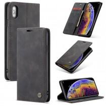 Zacht vintage hoesje / case met 2 kaarthouders en geldsleuf geschikt voor iPhone X / XS zwart