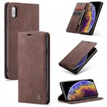 Zacht vintage hoesje / case met 2 kaarthouders en geldsleuf geschikt voor iPhone XS Max bruin