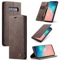 Zacht vintage hoesje / case met 2 kaarthouders en geldsleuf geschikt voor Samsung Galaxy S10 bruin