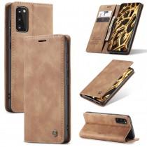 Samsung Galaxy S20 zacht vintage hoesje / case met 2 kaarthouders en geldsleuf lichtbruin