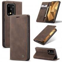 Zacht vintage hoesje / case met 2 kaarthouders en geldsleuf geschikt voor Samsung Galaxy S20 Ultra bruin