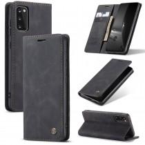Zacht vintage hoesje / case met 2 kaarthouders en geldsleuf geschikt voor Samsung Galaxy S20 zwart