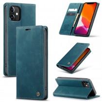 iPhone 12 / 12 Pro zacht vintage hoesje / case met 2 kaarthouders en geldsleuf blauw