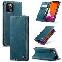 iPhone 12 Pro Max zacht vintage hoesje / case met 2 kaarthouders en geldsleuf blauw