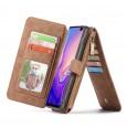 Samsung Galaxy S10 Leren portemonnee hoesje met uitneembare telefoon case bruin