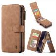 Samsung Galaxy S10e Leren portemonnee hoesje met uitneembare telefoon case bruin