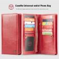 Universele telefoonhoes portemonnee met 11 kaarthouders rood