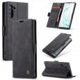 Zacht vintage hoesje / case met 2 kaarthouders en geldsleuf geschikt voor Samsung Galaxy Note 10 zwart