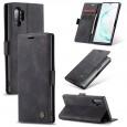 Zacht vintage hoesje / case met 2 kaarthouders en geldsleuf geschikt voor Samsung Galaxy Note 10+ zwart