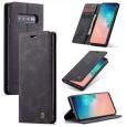 Zacht vintage hoesje / case met 2 kaarthouders en geldsleuf geschikt voor Samsung Galaxy S10 zwart